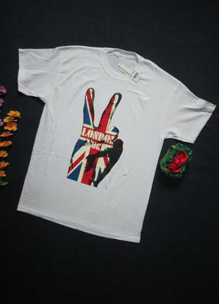Футболка с принтом британский флаг 100% хлопок  london uk warehouse