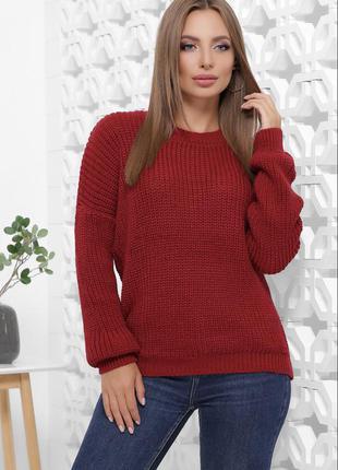 Красный однотонный свитер оверсайз шерстяной