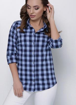 Синяя голубая рубашка в клетку идеально под джинсы