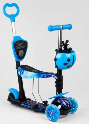 Детский самокат 5в1 best scooter, с божьей коровкой, pu колеса, подсветка колес