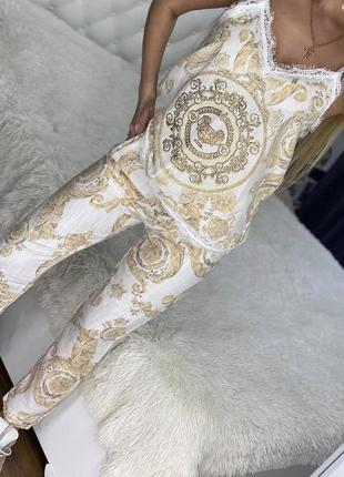 Люкс шикарный льняной турецкий костюм принт рхл