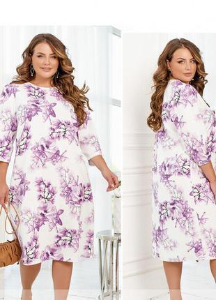 Нежное весеннее платье прямого кроя размеры 46-48/50-52/54-56/58-60/62-64/66-68 (2249)
