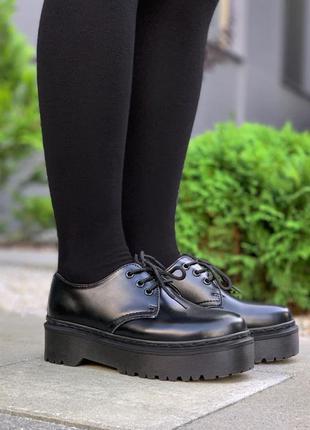 Кожаные туфли dr. martens 1461 mono black platform