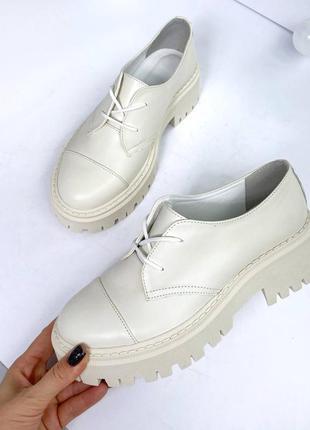 Туфли оксфорды кожаные на шнурках