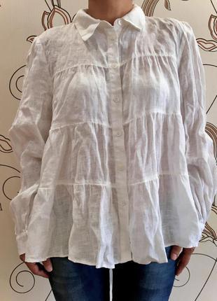 Блуза рубашка льняная зара zara