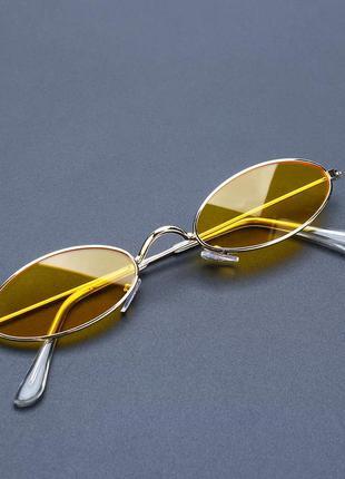Узкие очки овалы, жёлтый цвет