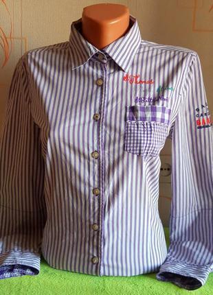 Стильная белая рубашка в фиолетовую полоску gaastra made in india, молниеносная отправка
