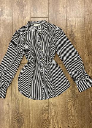 Рубашка,блузка в полосочку с объемным рукавом от oasis