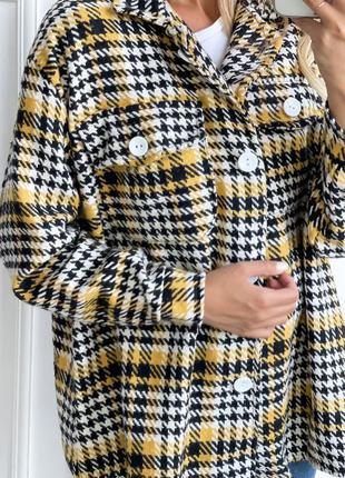 Тёплая куртка-рубашка гусиная лапка в стиле zara👍рубашка свободного кроя oversize👍кашемир шерсть