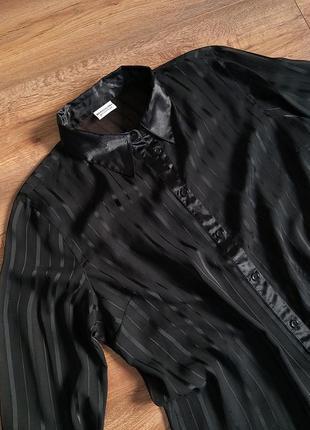 Сорочка чорна прозора в полоску з атласним коміром, красивая рубашка чёрная в полосочку