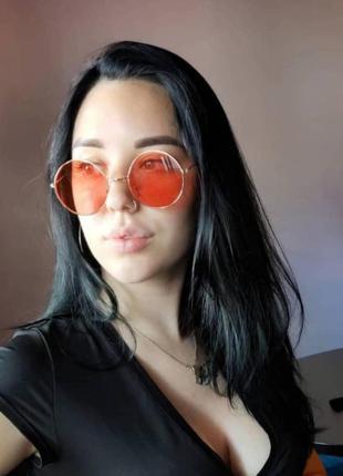 Красные круглые очки, унисекс