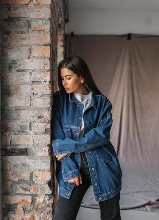 Синяя джинсовка оверсайз женский джинсовый пиджак