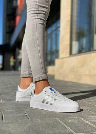 Женские кроссовки adidas samba white silver
