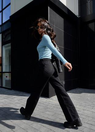 Джинсы палаццо, трубы, клёш, чёрные, джинси