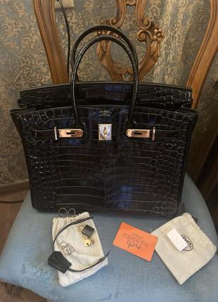 Чёрная кожаная сумка под  крокодила в стиле hermès birkin