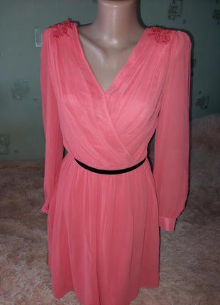 Корраловое платье