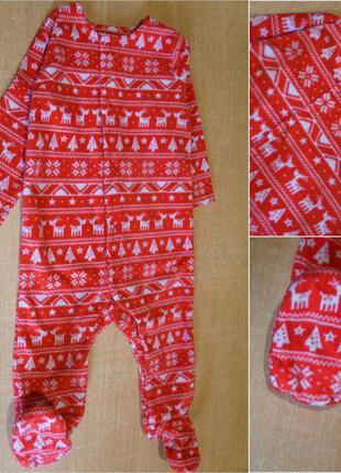 F&f флисовый новогодний человечек 6-9 мес флісовий новорічний чоловічок
