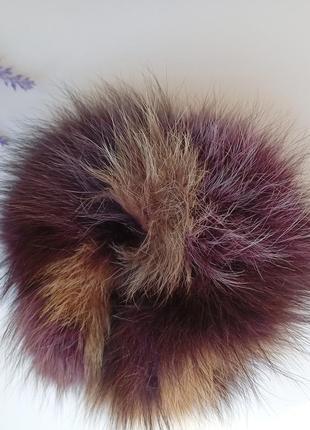 Меховая резинка для волос резинка помпон песец натуральный