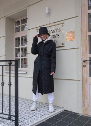 Пальто стёганное на поясе синтепух 80