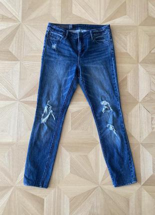 Брендовые модные темно-синие рваные джинсы от armani