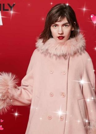 Эксклюзив! изумительное шерстяное пальто с мехом енота, пудра, only, демисезон, р наш 42-44 н