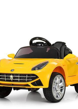 Детский электромобиль bambi racer m 3176eblr-6 порше желтый, 2 мотора, колеса eva, (1100235)