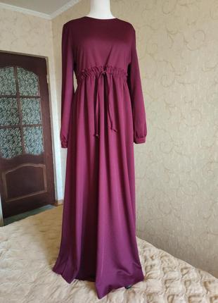 Платье длинное миди длинный рукав цвет марсала