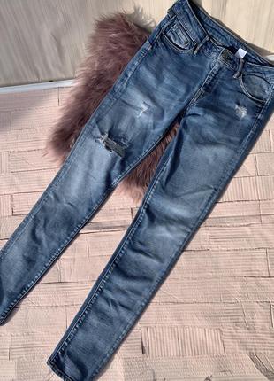 Голубые синие трендовые джинсы h&m скини skinny denim джинси скинни hm