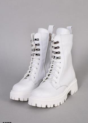 Ботинки женские демисезонные кожаные белые на шнурках и молнии