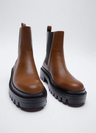 Кожаные ботильоны ботинки zara