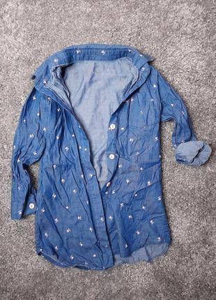 Бомбезная стильная рубашка  туника для девочки