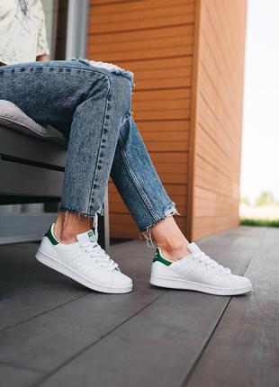Кроссовки adidas stan smith (белые с зелёным)