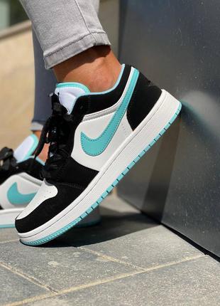 Nike air jordan 1 retro low (черно/белые с мятным)
