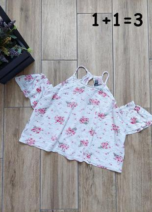 Primark милый кроп топ xs открытые плечи топик вышивка узор принт цвет белый нежный маечка