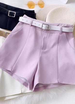 Лавандовые шорты с ремешком женские шорты классика