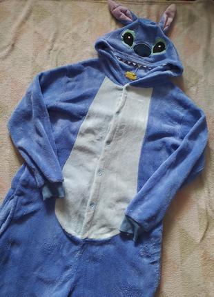 Кигуруми пижама слип ромпер комбинезон для дома плюшевый с капюшоном синий мультик дисней лило и стич монстрик