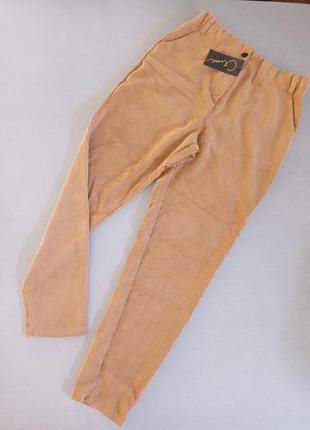 Штаны брюки вельвет коричневые горчичные на резинке
