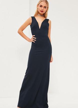 Темное синее макси платье