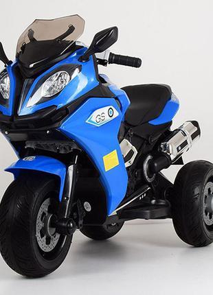 Детский электромотоцикл трехколесный bambi racer m 3913el-4 синий, 2 мотора, mp3, usb, 91100252)