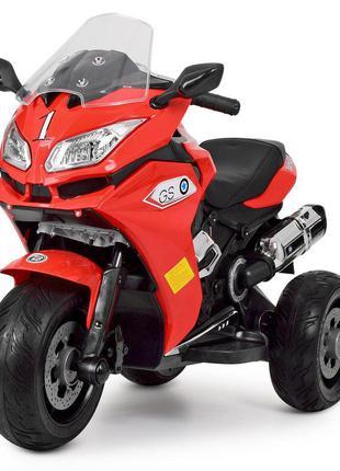 Детский электромотоцикл трехколесный bambi racer m 3688el-3 красный, 2 мотора, mp3, usb,(1100253)