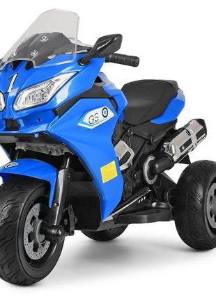 Детский электромотоцикл трехколесный bambi racer m 3688el-4 синий, 2 мотора, mp3, usb, (1100254)