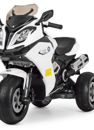 Детский электромотоцикл трехколесный bambi racer m 3913el-1 белый, 2 мотора, mp3, usb, (1100255)