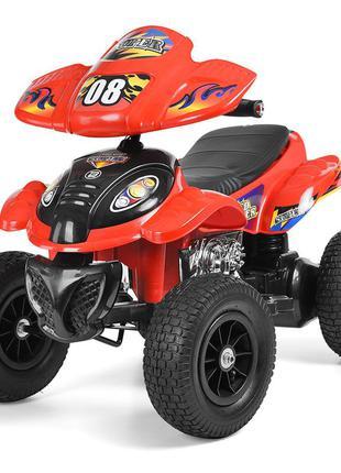 Квадроцикл детский m 2403alr-3 красный 2 мотора 28w, надувные колеса (1100257)