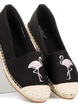Эскадрильи слипоны с фламинго flamingo black