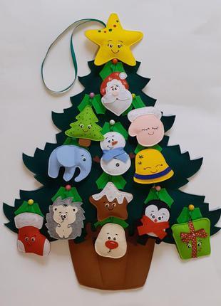 Елка из фетра для детей. фетровая ёлка с игрушками. новогодние ёлки. адвент. фетрова ялинка дитяча.