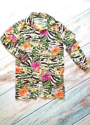 Пляжная накидка рубашка зебра цветочным принтом boohoo
