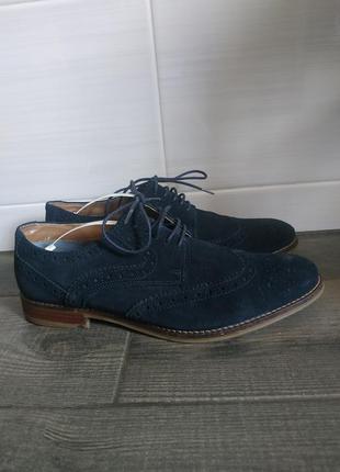 Сині замшеві туфлі,брого marks & spencer р.uk 7