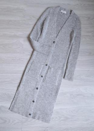 Длинный стильный трендовый серый кардиган в рубчик