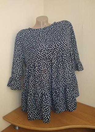 Блузка блуза с воланами в разноцветный горошек
