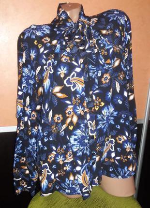 Шикарная блуза рубашка батал 20 вискоза